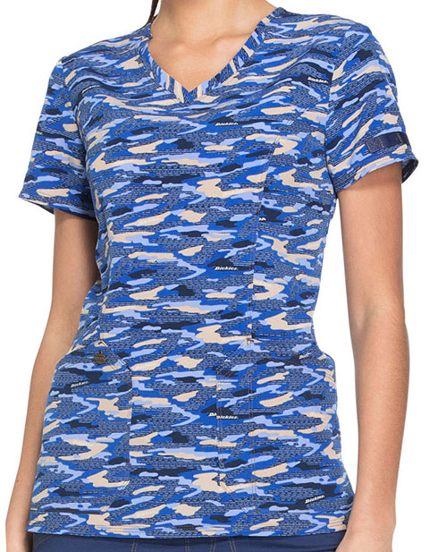 Dickies Essence Women's Get Back in Line Navy V-Neck Top
