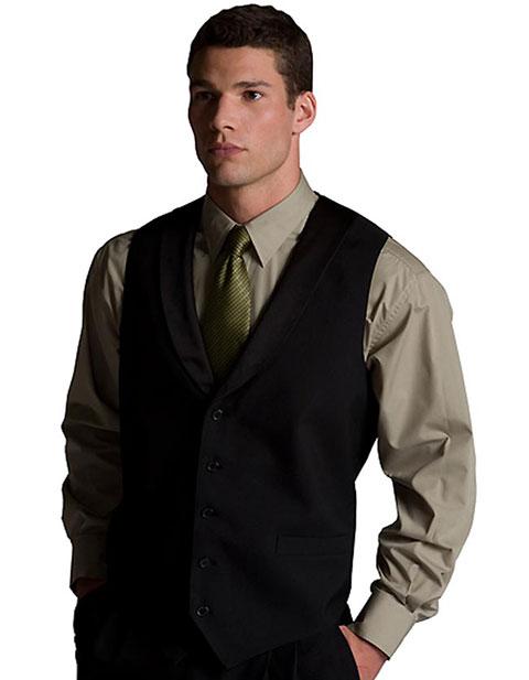 Men's Black Satin Shawl Vest