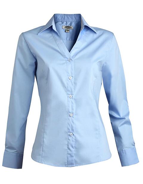 Women's Long Sleeve V-neck Tailored Stretch Blouse
