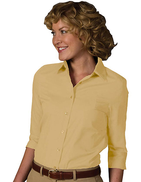 Women's 3/4 Sleeve Soft Collar Poplin Blouse