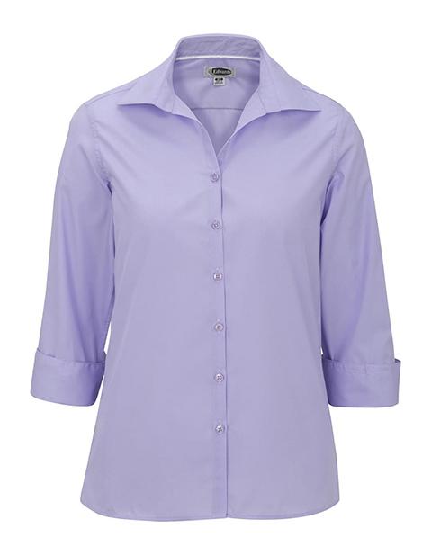 Women's Open Neck Poplin 3/4 Sleeve Blouse