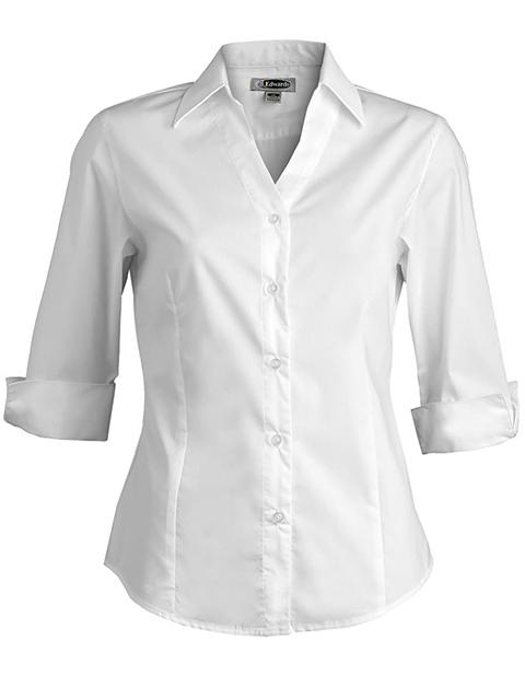 V-neck Tailored Stretch Broadcloth Blouse 3/4 Slv