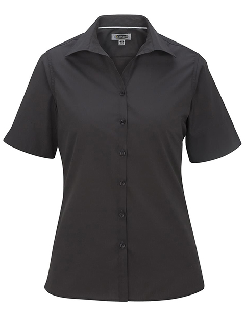 Women's Open Neck Poplin Short Sleeve Blouse