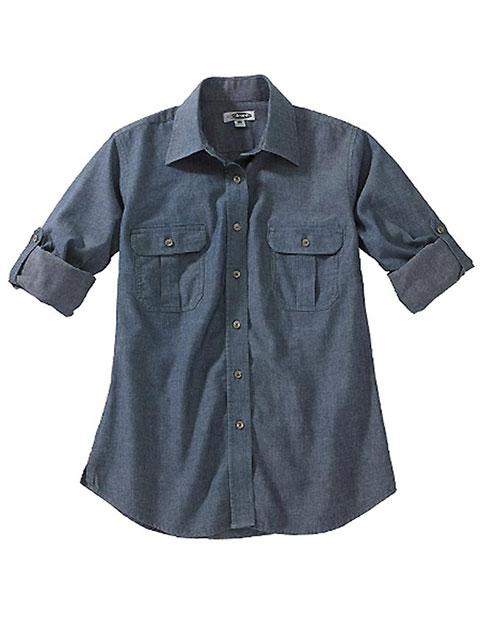 Edward Women's Chambray Roll-up Sleeve Shirt