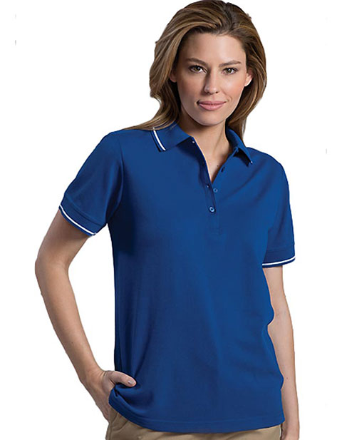 Women's Tipped Collar/cuff Blended Pique Polo