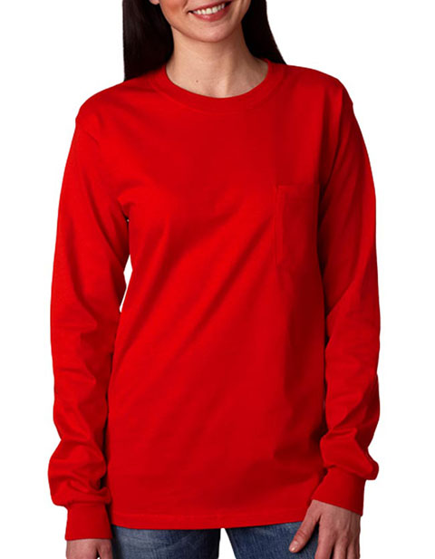 Gildan Adult Ultra Cotton Long-Sleeve T-Shirt with Pocket