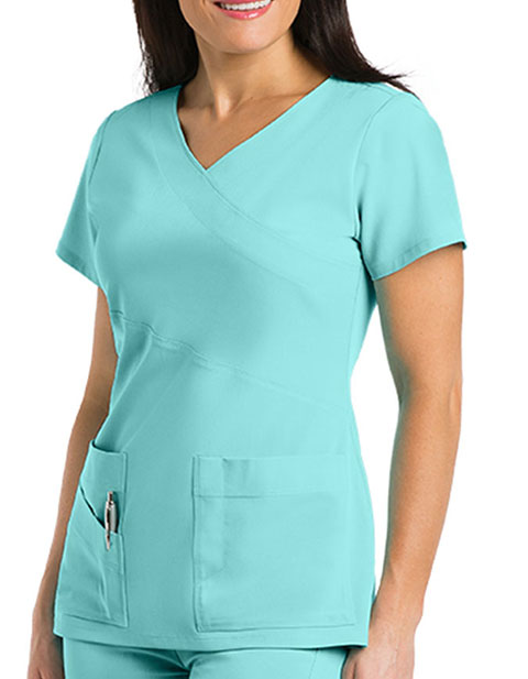 Grey's Anatomy Signature Women's Double Mock Wrap Top