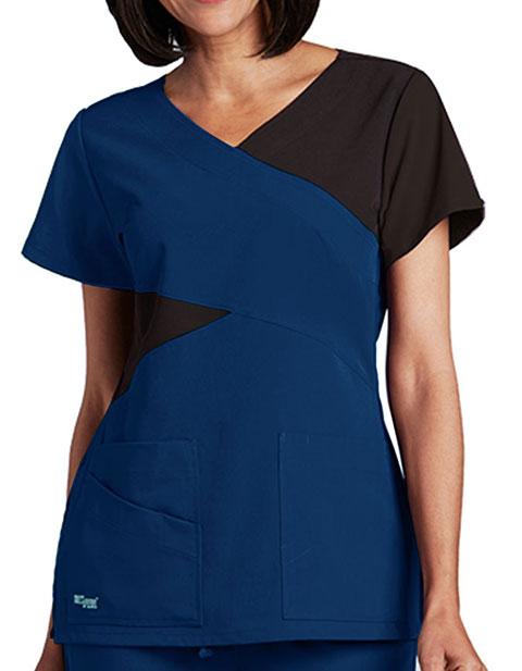 Grey's Anatomy Signature Women's 4-Pockets Mockwrap Top