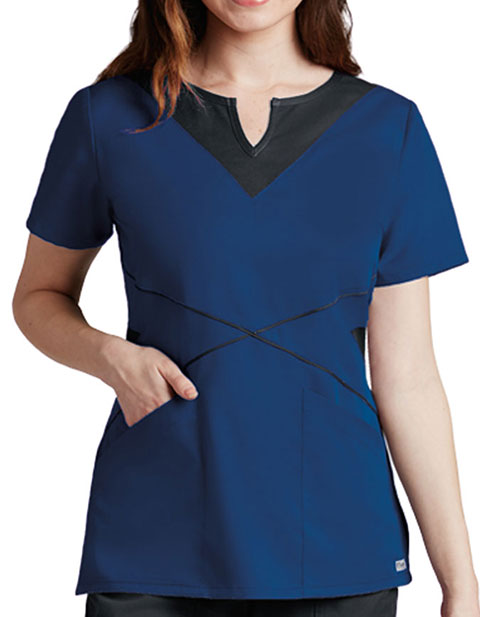 Grey's Anatomy Women's Split Neck Colorblock Scrub Top