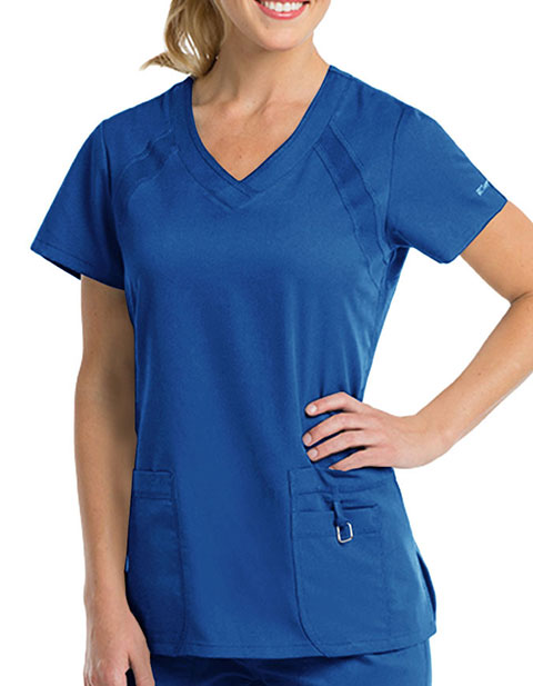 Grey's Anatomy Active Women's V-neck Knit Ragla Top
