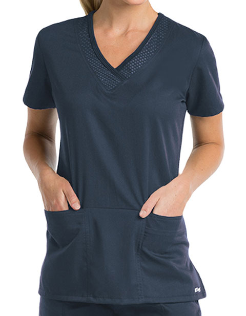 Grey's Anatomy Active Women's Tonal Emboss Fashion Top