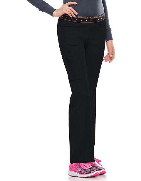 HeartSoul Women's BFF Mid-Rise Elastic Waist Cargo Scrub Pant