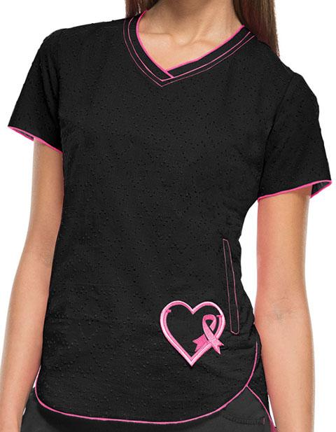 HeartSoul Women's Girls Love Pink V-Neck Top
