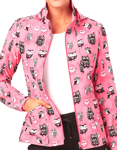 HeartSoul Texture Me Later Women's Hoo's In Love Hoodie Scrub Jacket