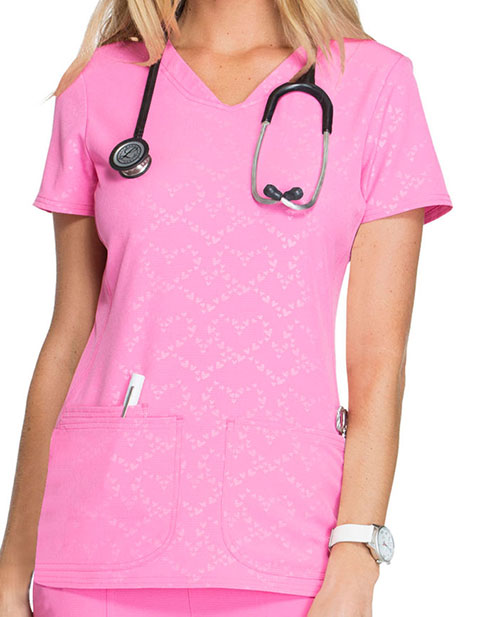 HeartSoul Break On Through Womens Beat of My Heart V-Neck Scrub Top