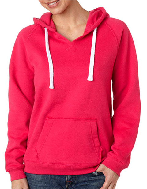 J8836 J-America Ladies' Brushed V-Neck Hooded Fleece