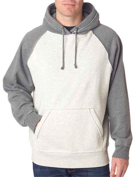 J8885 J-America Adult Vintage Heather Hooded Blended Fleece