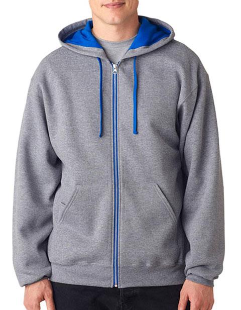 J93 Jerzees Adult NuBlend® Contrast Full-Zip Hooded Sweatshirt