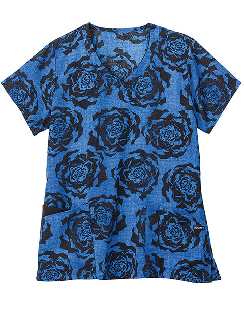 Jockey Classic Women's Painted Petals Royal V-Neck Printed Top
