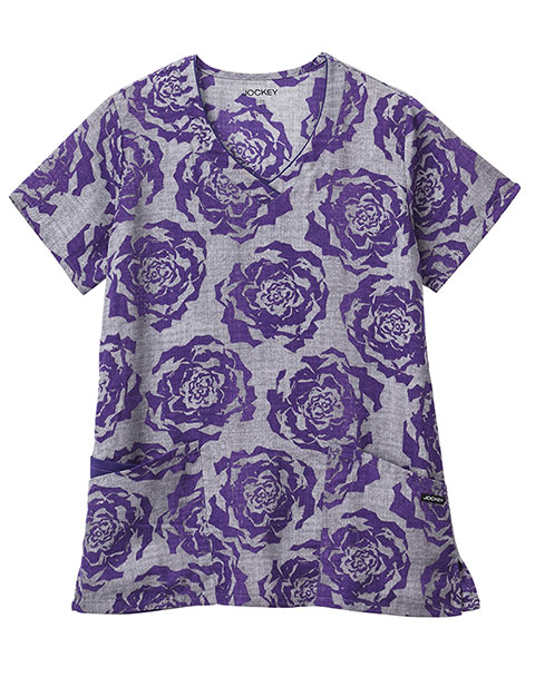 Jockey Classic Women's Painted Petals Purple V-Neck Printed Top