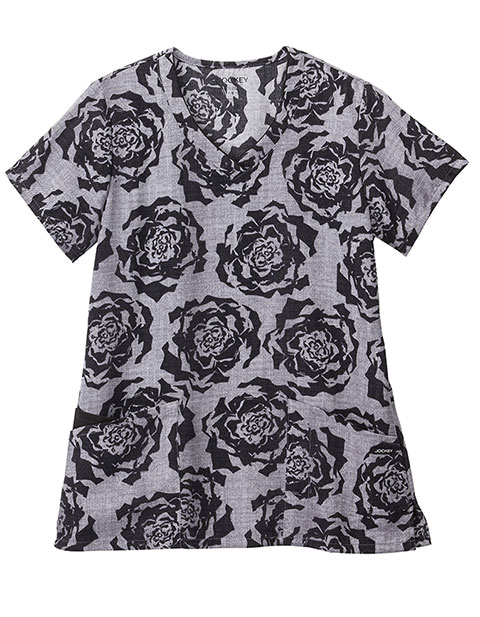 Jockey Classic Women's Painted Petals Pewter V-Neck Printed Top