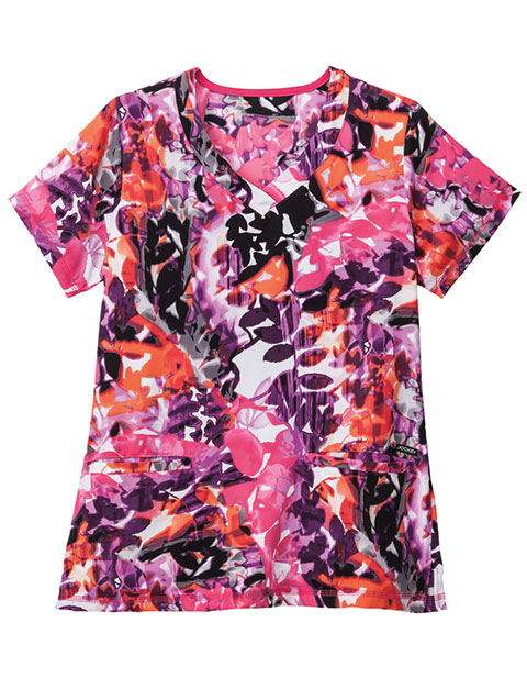 Jockey Classic Women's Sun Rays Purple Print V-Neck Top