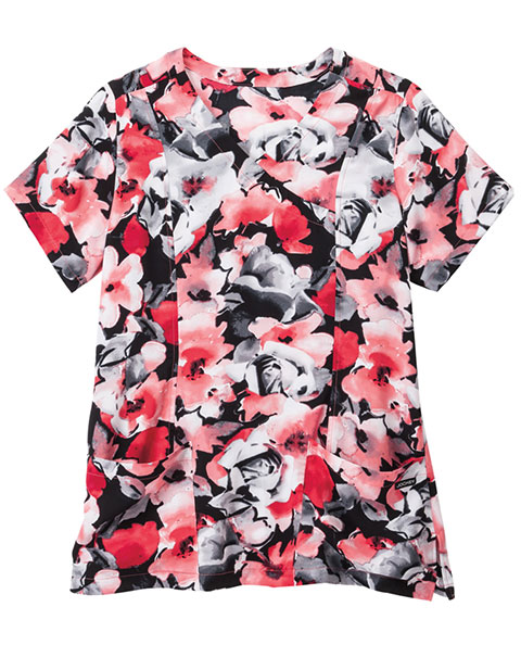 Jockey Scrubs Women's Interpretations Hibiscus Print Mock Wrap Top