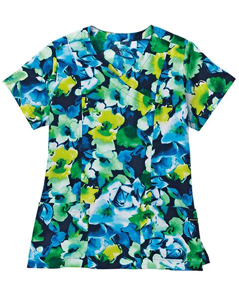 Jockey Scrubs Women's Interpretations Sea Blue Print Mock Wrap Top
