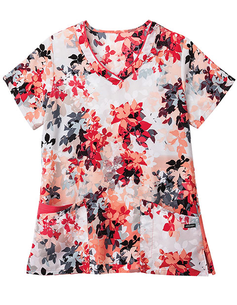 Jockey Scrubs Women's Ombre Leaves Hibiscus Print Mock Wrap Top