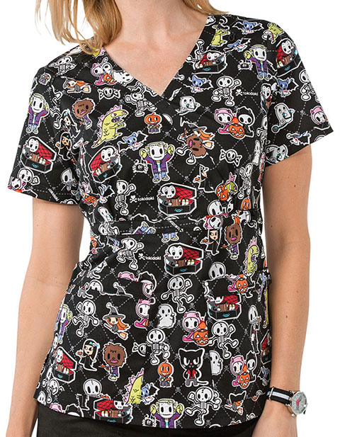 KOI Stretch Women's Adios Halloween Printed Luna Top