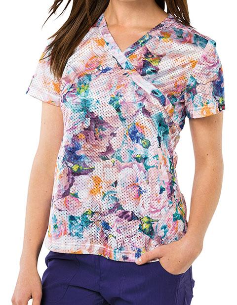 KOI Lite Women's Mockwrap Neck Bliss Floral Print Top