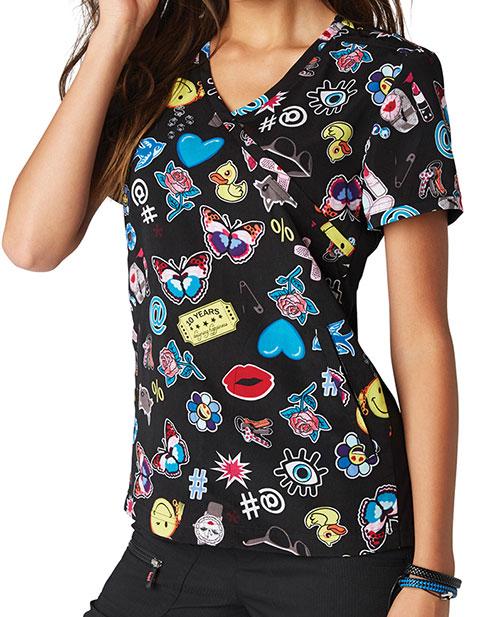 KOI Lite Women's Mockwrap Neck Printed Inspire Top