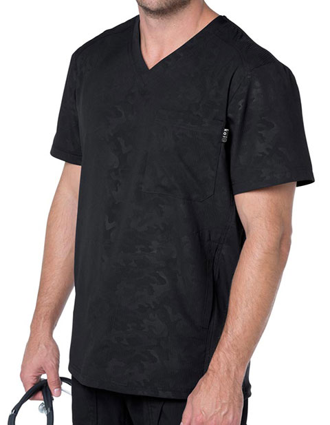 KOI Lite Men's V-neck Black Printed Zen Top
