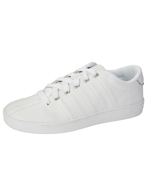K-Swiss Womens White Leather Athletic Shoes