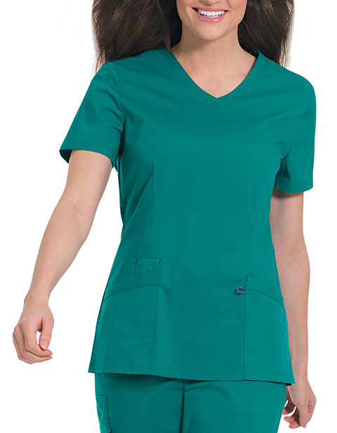 Landau Women's Stretch V-Neck Tunic Solid Scrub Top