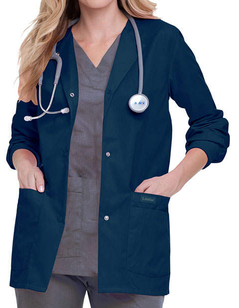 Landau Womens Four Pocket Crew Neck Nursing Scrub Jacket