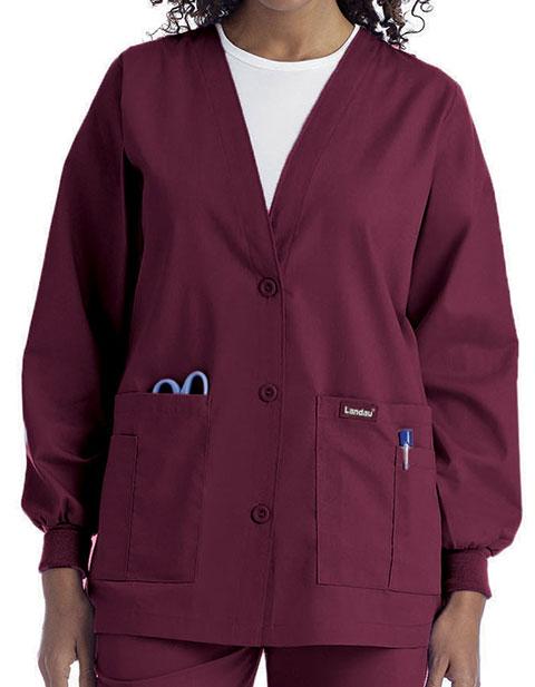 Landau Womens Multiple Pocket Cardigan Medical Warm Up Jacket