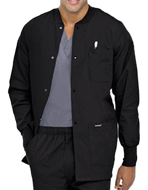 Landau Mens Multipocket Rib Knit Medical Scrub Jacket