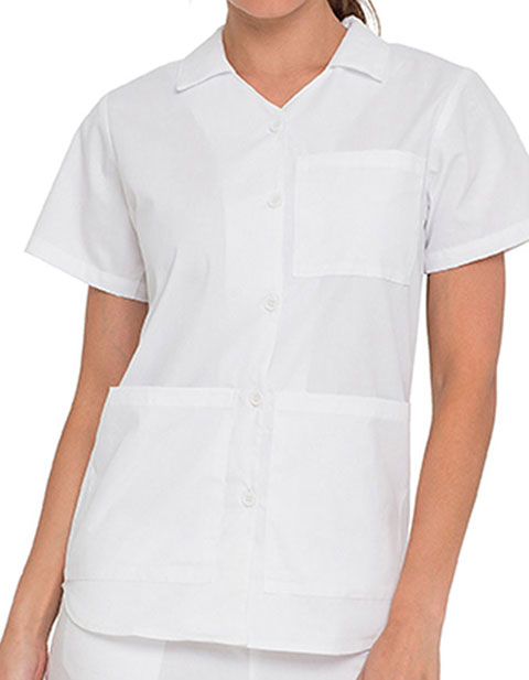 Landau Womens White Button Front Nursing Scrub Top