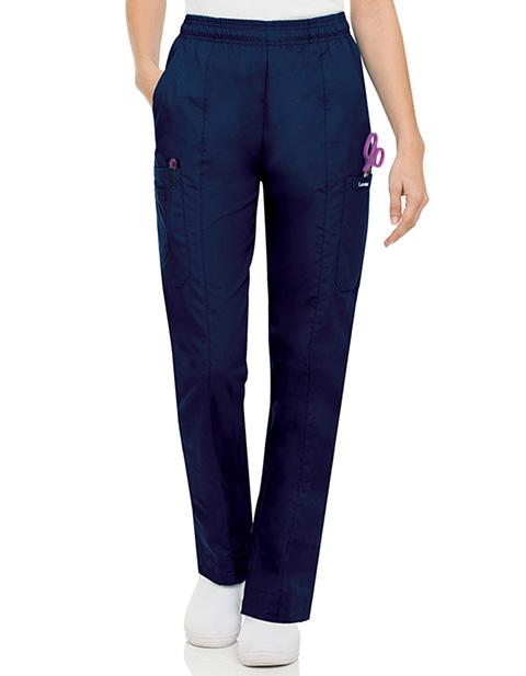 Landau Women Multipocket Petite Elastic Waist Scrub Pants