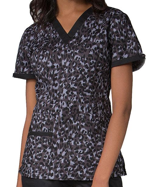 Maevn Prints Women's Layer Cheetah V-Neck Top