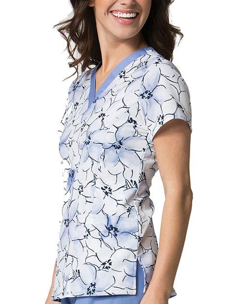 Maevn Prints Women's Printed Watercolor Floral V-Neck Top