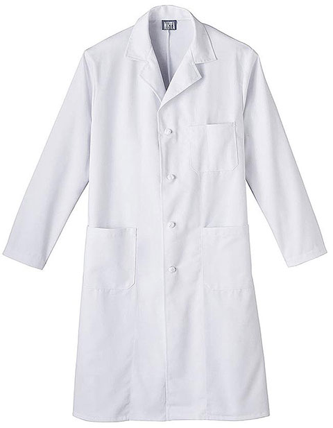 Meta Mens Three Pocket Knot Button 45 inch Long Lab Coat