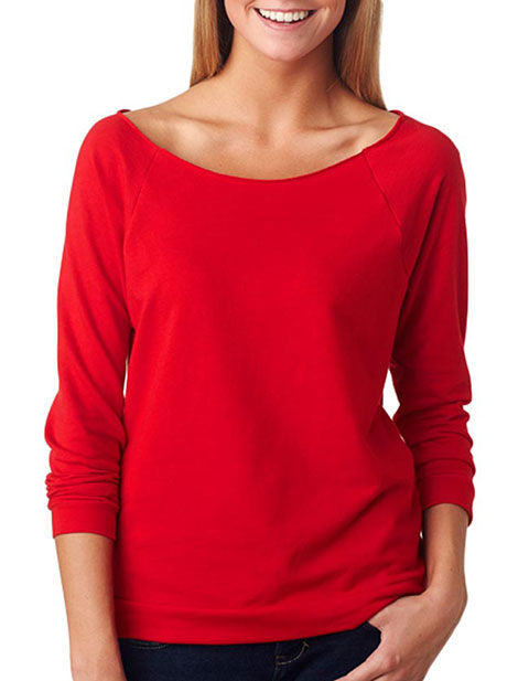 6951 Next Level Terry Raw-Edge 3/4-Sleeve Raglan
