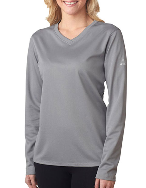 New Balance Ladies' NDurance Athletic Long-Sleeve V-Neck T-Shirt