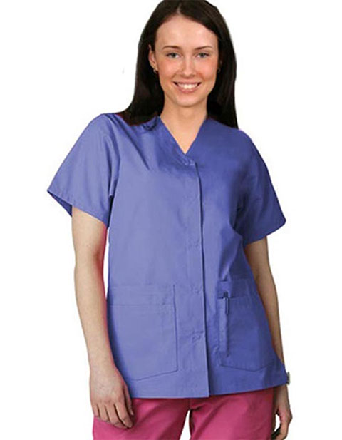 Adar Pro Double Pocket Snap Front Women Nurses Scrub Top