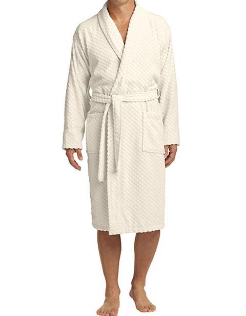 Port Authority Unisex Checkered Terry Shawl Collar Robe