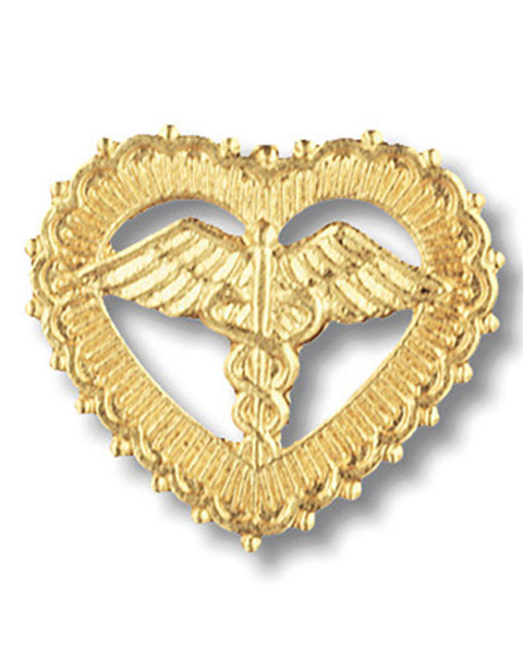 Prestige Handmade Gold Plated Caduceus in Filigreed Heart Pin