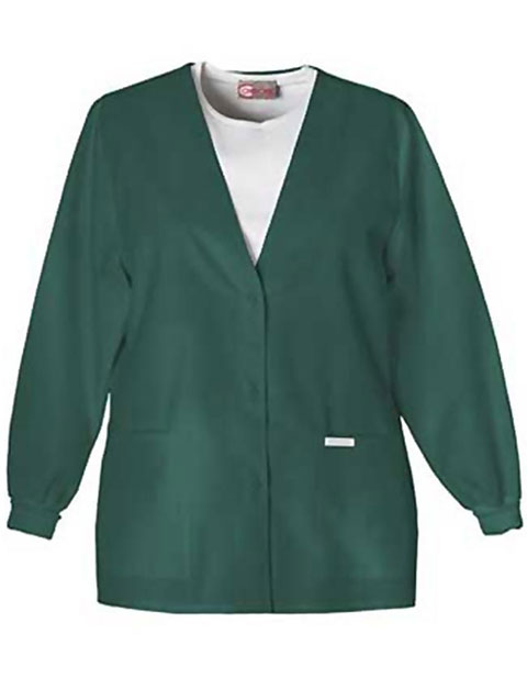 PU Made To Order Women's V-Neck Two Pocket Warm-Up Scrub Jacket