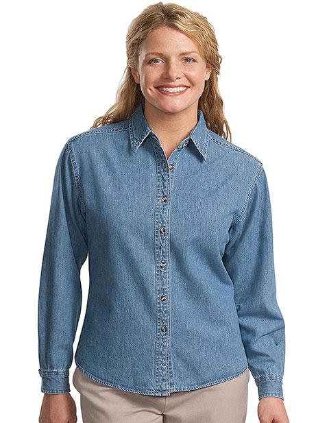 Sanmar Port Authority Womens Button Front Long Sleeve Denim Shirt